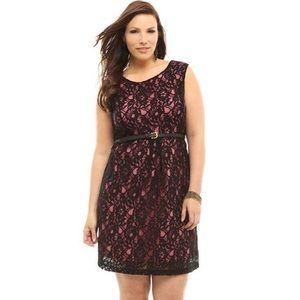 NWOT Torrid Black Lace Pink Underlay Dress